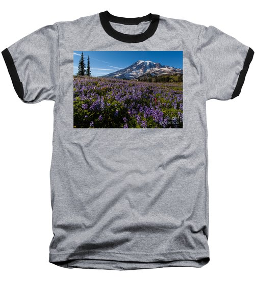 Purple Fields Forever And Ever Baseball T-Shirt by Mike Reid