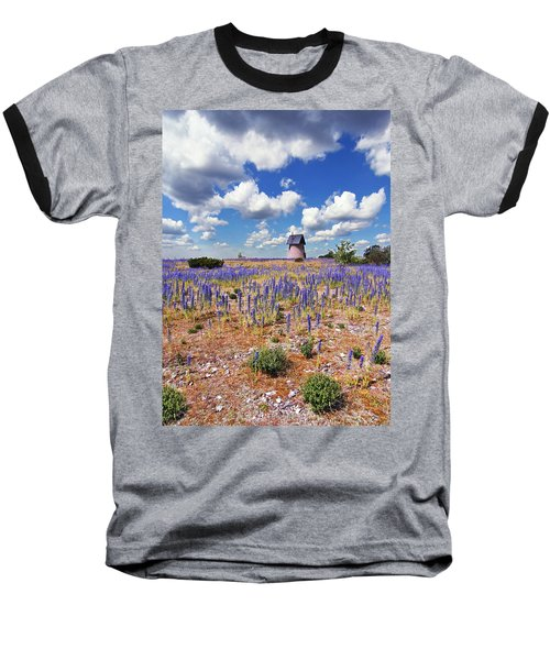 Purple Flower Countryside Baseball T-Shirt