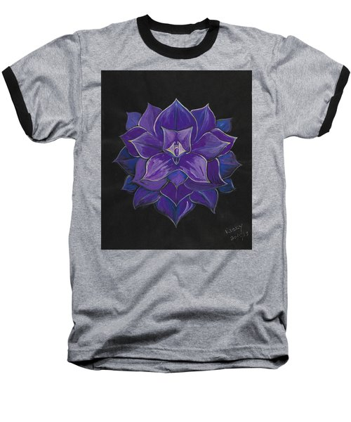 Purple Flower - Painting Baseball T-Shirt by Veronica Rickard