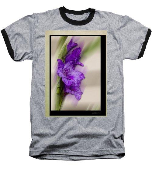 Purple Gladiolus Bloom Baseball T-Shirt