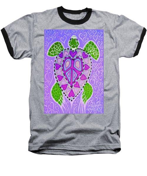 Purple Heart Turtle Baseball T-Shirt by Nick Gustafson