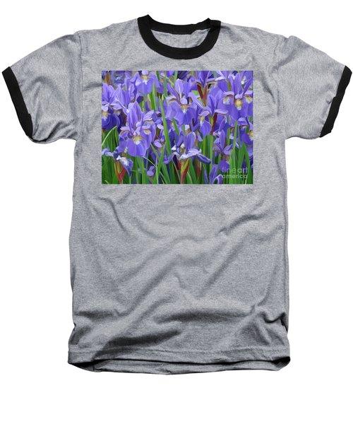 Baseball T-Shirt featuring the painting Purple Iris Garden by Tim Gilliland