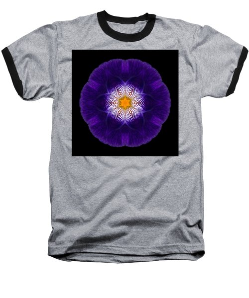 Purple Iris II Flower Mandala Baseball T-Shirt