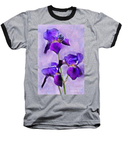 Purple Irises - Painted Baseball T-Shirt