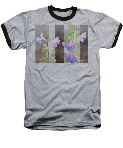 Purple Ivy Geranium Baseball T-Shirt by Laurel Best