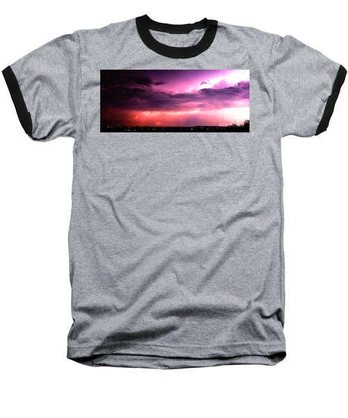Purple Lightning Panorama Baseball T-Shirt
