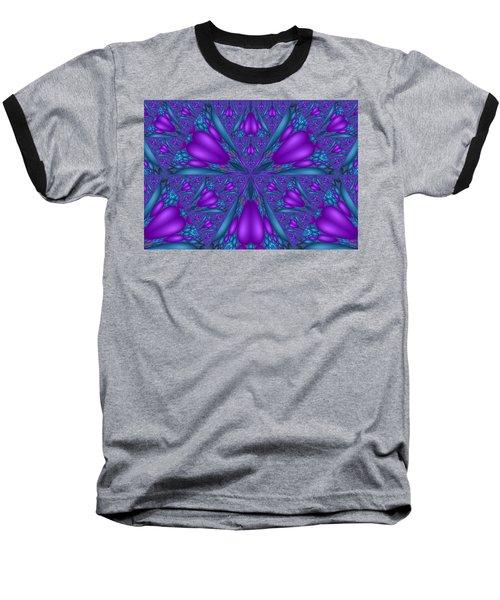 Baseball T-Shirt featuring the digital art Purple Mixed Fractal Flower by Judi Suni Hall