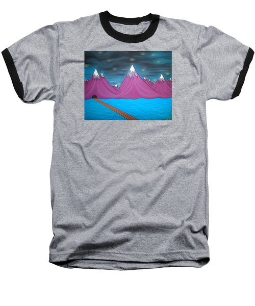Baseball T-Shirt featuring the pastel Purple Mountains by Robert Nickologianis