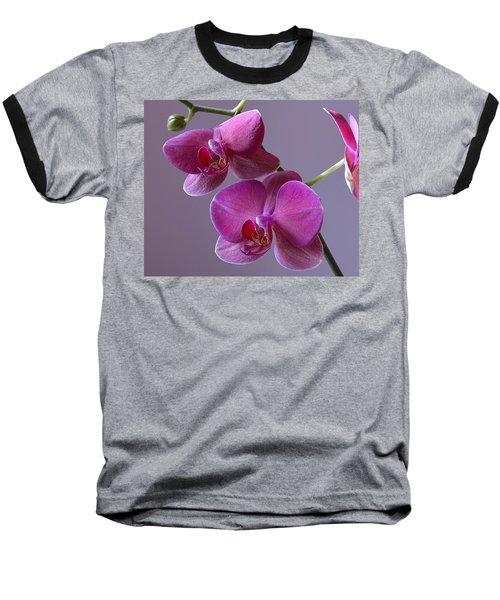 Purple Orchid Baseball T-Shirt by Kathy Eickenberg