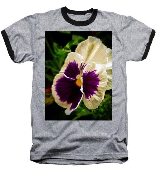 Purple Pansy Baseball T-Shirt