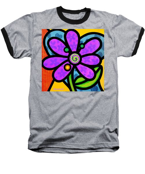 Purple Pinwheel Daisy Baseball T-Shirt