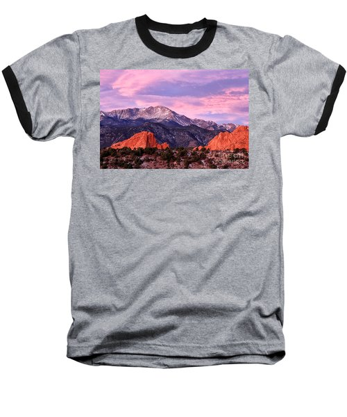 Purple Skies Over Pikes Peak Baseball T-Shirt by Ronda Kimbrow