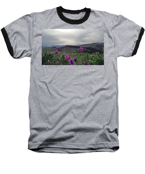 Baseball T-Shirt featuring the digital art Purple Spring In The Big Horns by Cathy Anderson
