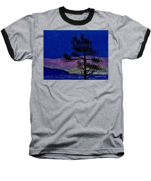 Baseball T-Shirt featuring the drawing Purple Sunset Bay by D Hackett