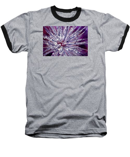 Purple Tentacles In Abstract Flower Shot Baseball T-Shirt