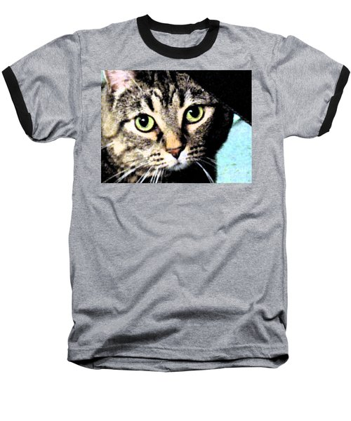 Baseball T-Shirt featuring the photograph Purrfectly Bright Eyed by Nina Silver