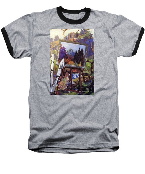 Baseball T-Shirt featuring the painting Put Color In Your Life by Eloise Schneider