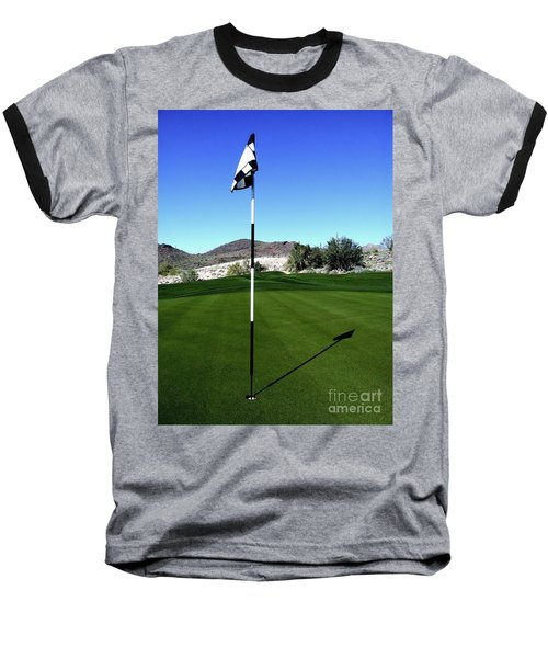 Putting Green And Flag On Golf Course Baseball T-Shirt