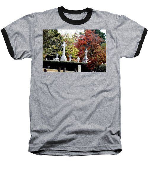 Baseball T-Shirt featuring the photograph Quad Crosses In Fall by Lesa Fine