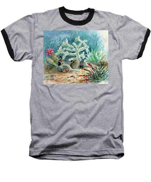 Quail At Rest Baseball T-Shirt by Marilyn Smith