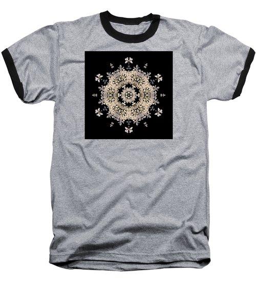 Queen Anne's Lace Flower Mandala Baseball T-Shirt