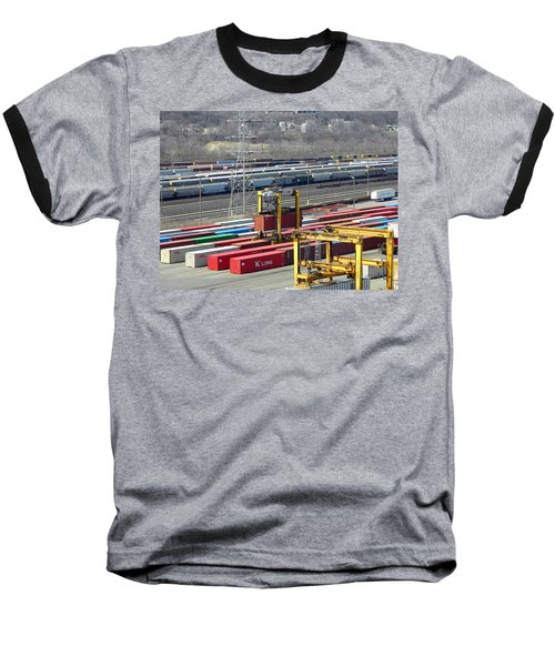Baseball T-Shirt featuring the photograph Queensgate Yard Cincinnati Ohio by Kathy Barney