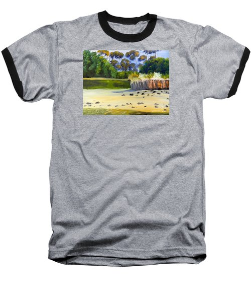 Baseball T-Shirt featuring the painting Quiet Sand By The Creek by Pamela  Meredith