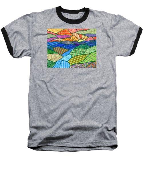 Quilted Appalachian Sunset Baseball T-Shirt by Jim Harris