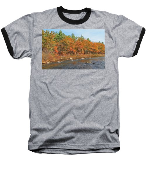 Quinapoxet River In Autumn Baseball T-Shirt
