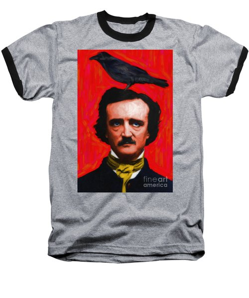 Quoth The Raven Nevermore - Edgar Allan Poe - Painterly - Red - Standard Size Baseball T-Shirt