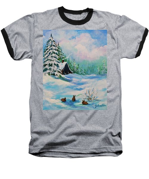 Baseball T-Shirt featuring the painting Rabbits Waiting For Spring by Bob and Nadine Johnston