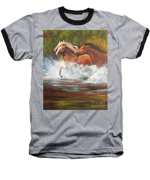 Baseball T-Shirt featuring the painting Race For Freedom Close Up by Karen Kennedy Chatham