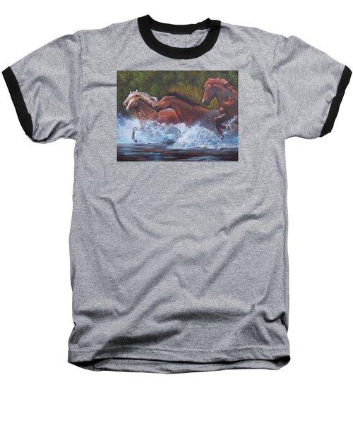 Baseball T-Shirt featuring the painting Race For Freedom by Karen Kennedy Chatham