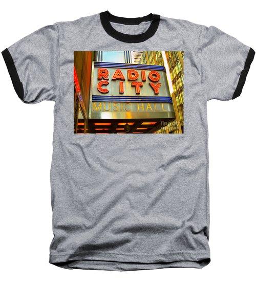 Baseball T-Shirt featuring the photograph Radio City Music Hall by Judy Palkimas