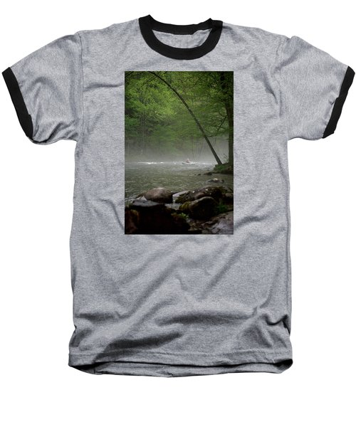 Rafting Misty River Baseball T-Shirt by Lawrence Boothby