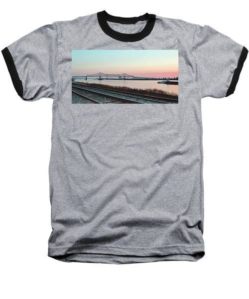 Baseball T-Shirt featuring the photograph Rail Along Mississippi River by Charlotte Schafer