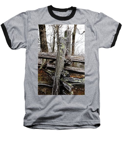 Rail Fence With Ice Baseball T-Shirt