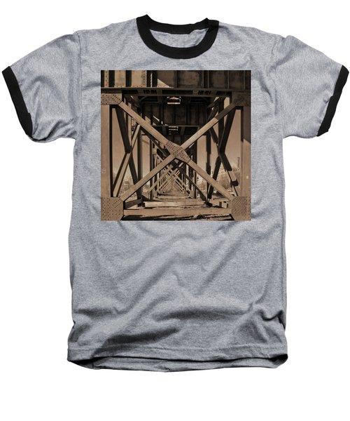 Railroad Trestle Sepia Baseball T-Shirt