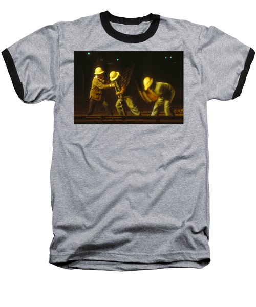Baseball T-Shirt featuring the photograph Railroad Workers by Mark Greenberg