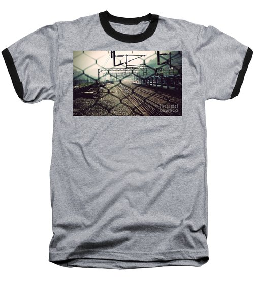 Railway Station Baseball T-Shirt by Yew Kwang