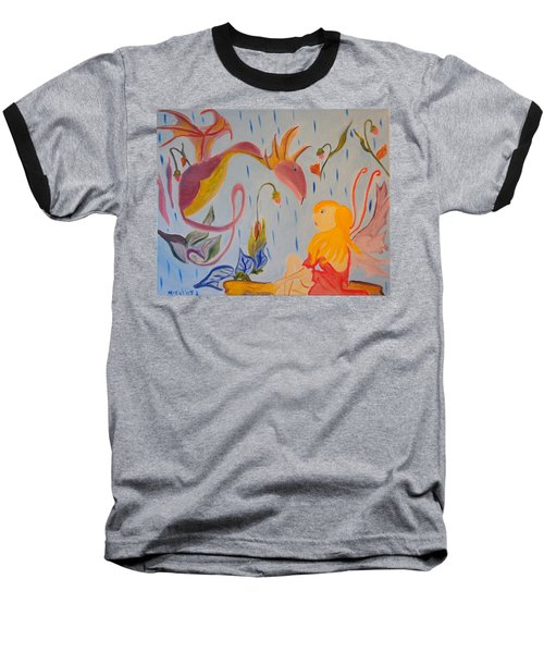 Baseball T-Shirt featuring the painting Rain Dragon by Meryl Goudey