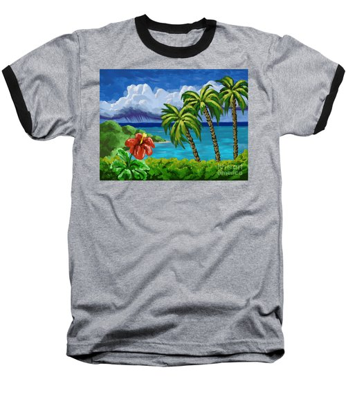 Baseball T-Shirt featuring the painting Rain In The Islands by Tim Gilliland
