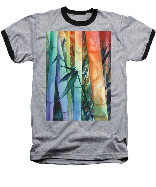 Baseball T-Shirt featuring the painting Rainbow Bamboo 2 by Marionette Taboniar
