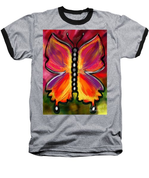 Rainbow Butterfly Baseball T-Shirt