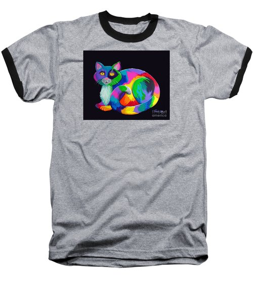 Rainbow Calico Baseball T-Shirt by Nick Gustafson