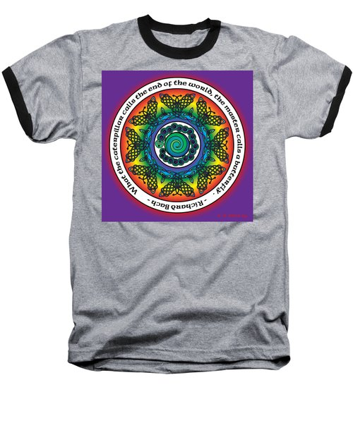 Rainbow Celtic Butterfly Mandala Baseball T-Shirt