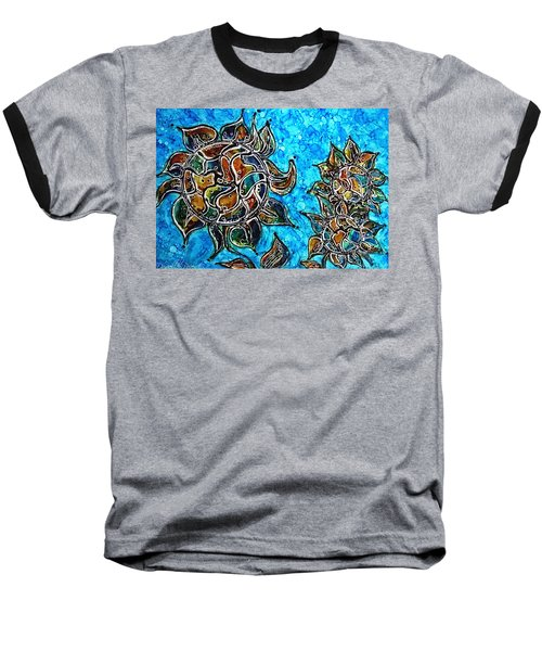 Rainbow Color Sunflowers Alcohol Inks Baseball T-Shirt