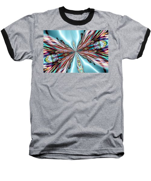 Rainbow Glass Butterfly On Blue Satin Baseball T-Shirt by Maria Urso