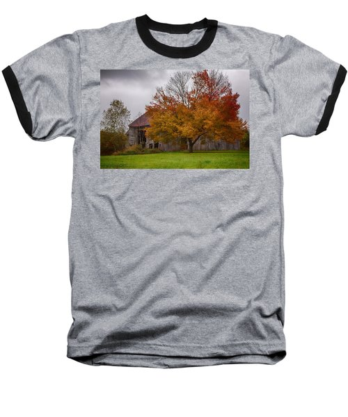 Baseball T-Shirt featuring the photograph Rainbow Of Color In Front Of Nh Barn by Jeff Folger