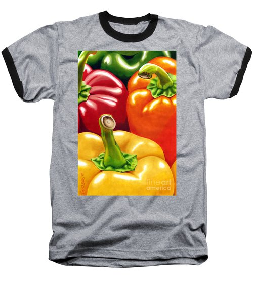 Rainbow Of Peppers Baseball T-Shirt